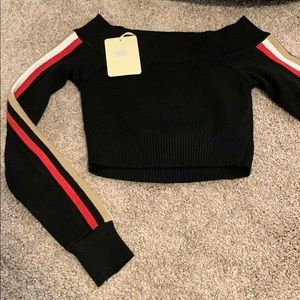 LF Cropped Off the Shoulder Sweater